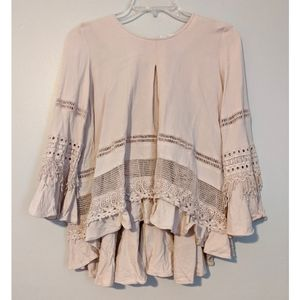 Cirana Dusty Rose Boho Fringe Festival Hippie Top